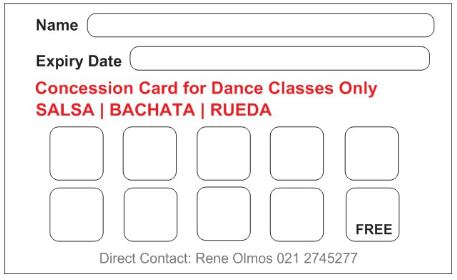 INTERMEDIATE Partner Dance Classes Concession Card
